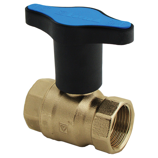 Ball valve with extended T-handle, blue, PN 25