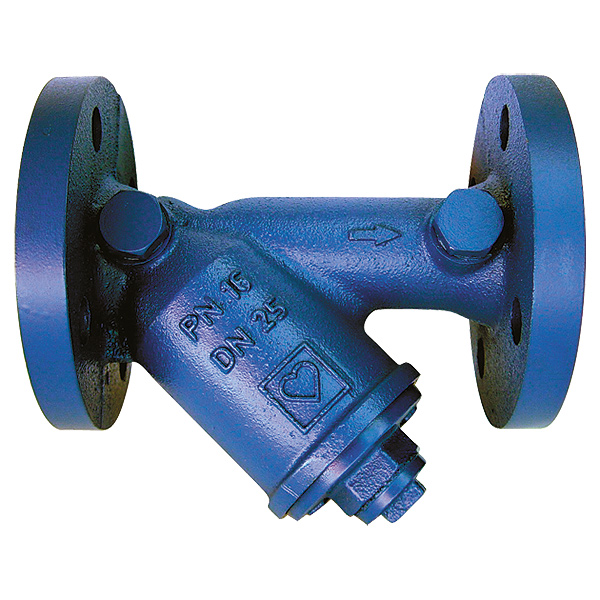 HERZ strainer with inclined body and flanged connection. With fine-mesh strainer of chromium-nickel steel