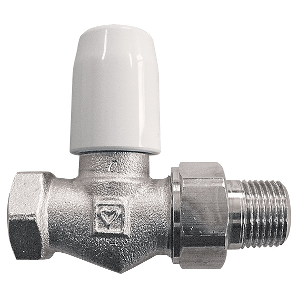 HERZ-GP radiator control valve with lockshield cap, straight model