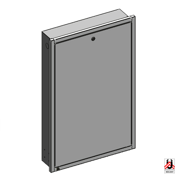 Flush box for HERZ residential unit hydraulic interface units with front frame, front door