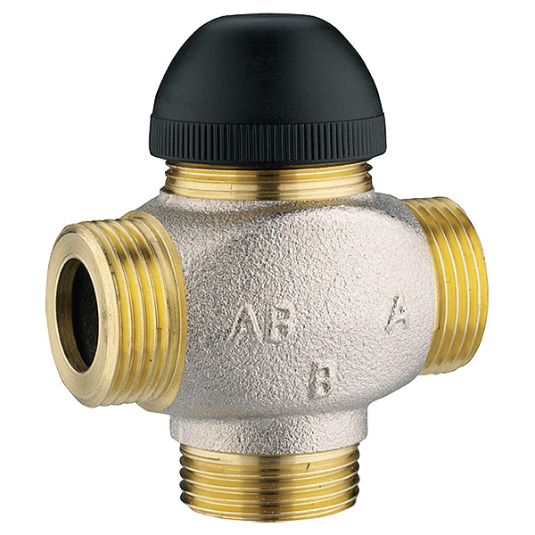 Thermostatic three-port control valve for mixing and distribution, three connections