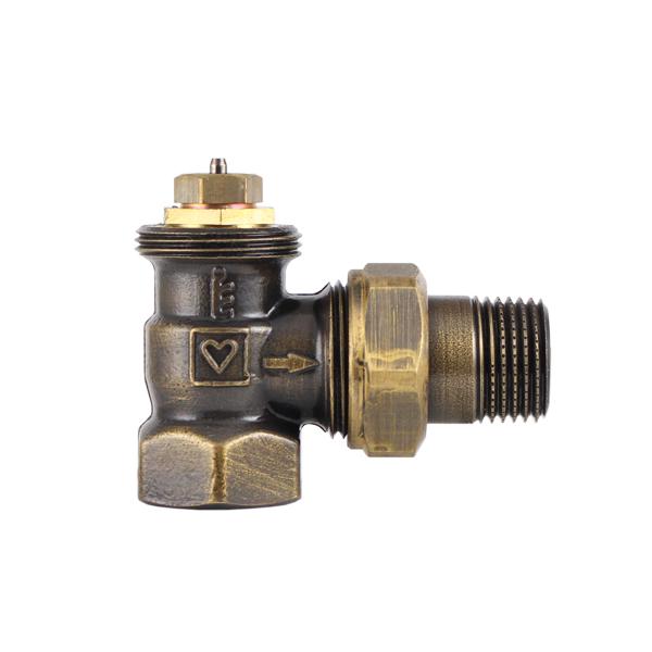 Термостатический клапан ГЕРЦ TS-90 DE LUXE, угловой, цвет винтаж