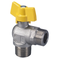 Ball valve for device connection with T-handle, angle version, AG x AG, PN 1