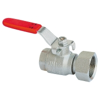 Ball valve with freely-rotating union nut, with lever handle (sheet steel galvanised), PN 16