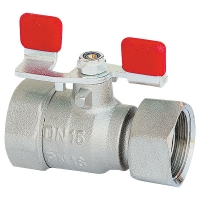 Ball valve with freely-rotating union nut, with T-handle (sheet steel galvanised), PN 16