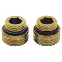 Connection nipple, flat seal, set of 2