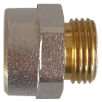 Plastic pipe connection nipple of brass